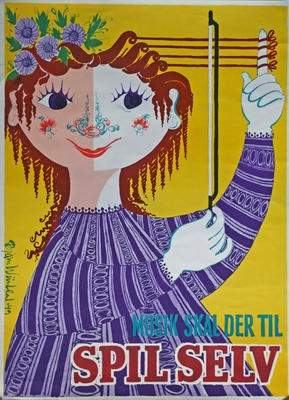 Danish vintage poster: Music must be - play yourself - by Bjørn Wiinblad