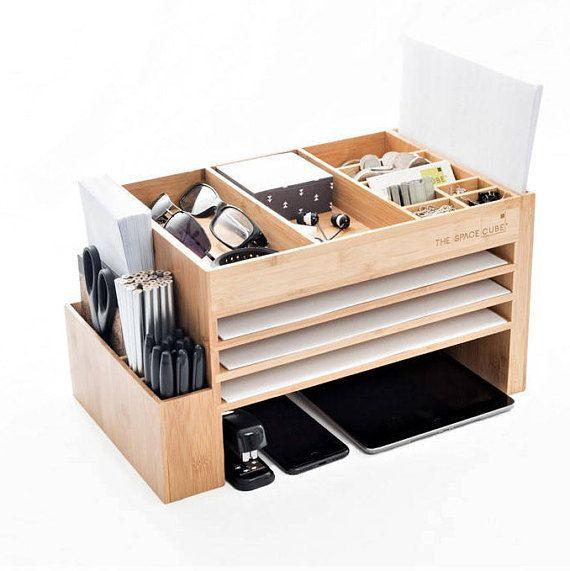 Wooden Office Desk Organiser Accessories Bamboo Office Supplies Storage Caddy Docking Station Desk Tidy Nightstand Organization