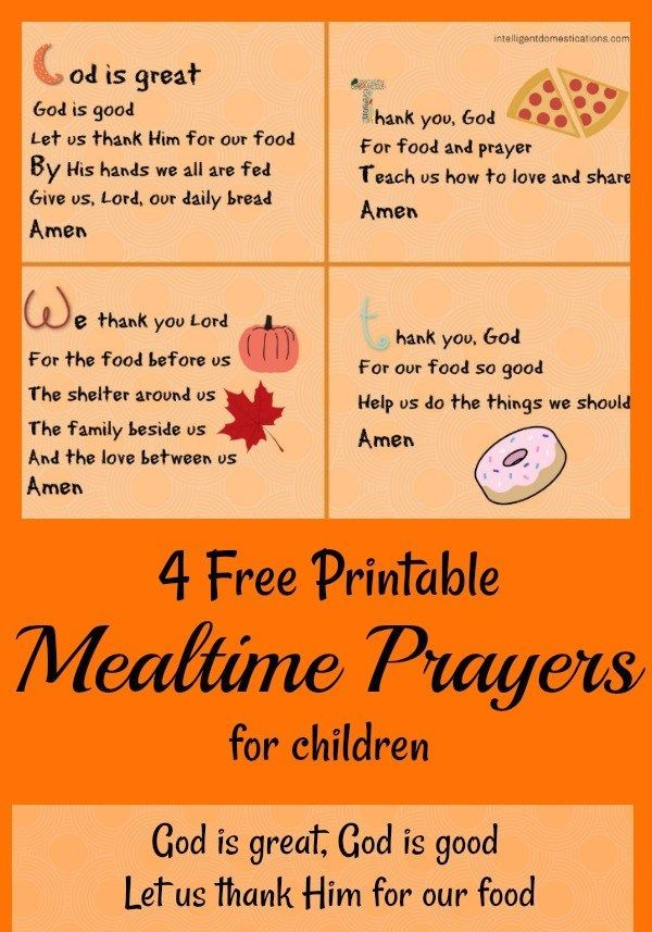 Easy To Learn Short Mealtime Prayers To Teach The Children Mealtime Prayers Prayers For Children Bedtime Prayers For Kids