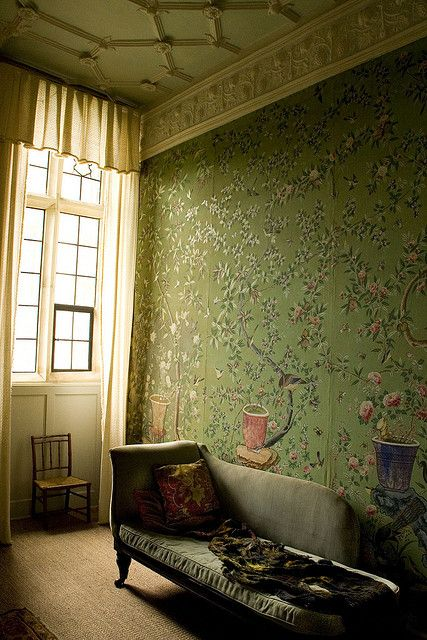 Chinese wallpaper in the King's Room at Broughton Castle, Oxfordshire, England.