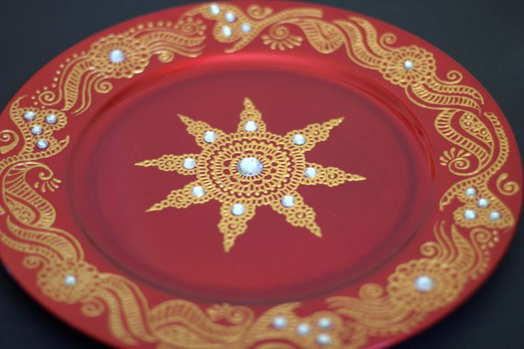 Decorative Mehndi Candles : Henna design decorative plate harmony candles and