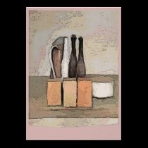 Wine and Cheese Still Life in Pink posters by figstreetstudio