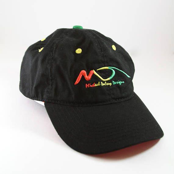 Vintage Michael Dolsey Designs Baseball Cap // Embroidered Wave Surfing Hat // Surf Board Ballcap