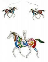 Cowgirl+Rainbow+Horse+Pendant+and+Earring+Set.+Free+Necklace+Included