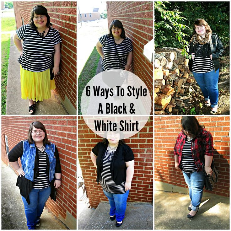 Unique Geek: 6 Ways To Style A Black & White Shirt #plussizefashion #blackandwhitestripedshirt #blackandwhite #plussizestyle