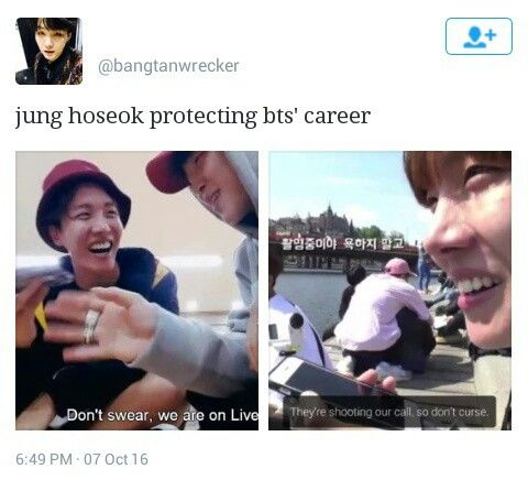 Aww sweet Hoseok! Let's not forget that jhope cursed in one of the Bangtan bombs himself! XD