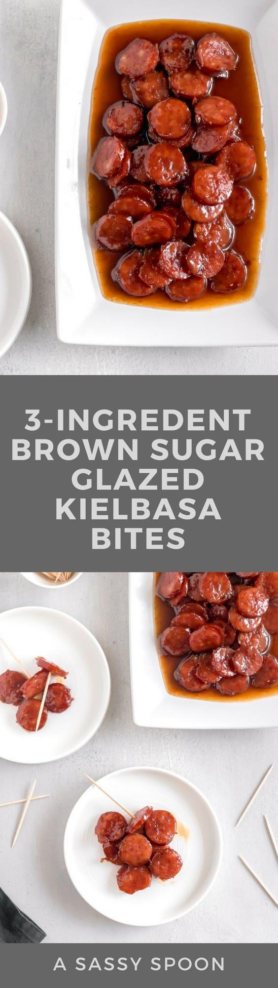 3-ingredient Brown Sugar Glazed Kielbasa Bites A Sassy Spoon