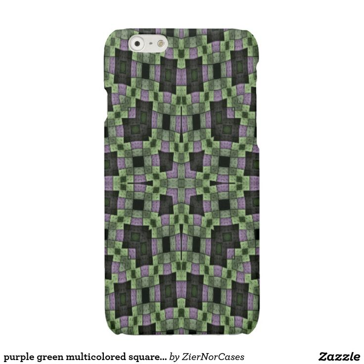 purple green multicolored square pattern glossy iPhone 6 case