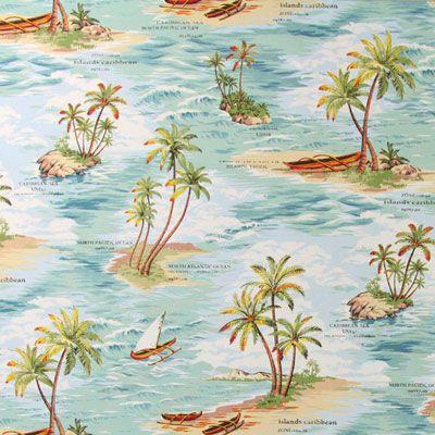 Lonely Beach - blauw - Maritieme wereld – Decoratiestoffen - Eerste appartement - Stoffen - Decoratiestoffen planten - stoffen.net