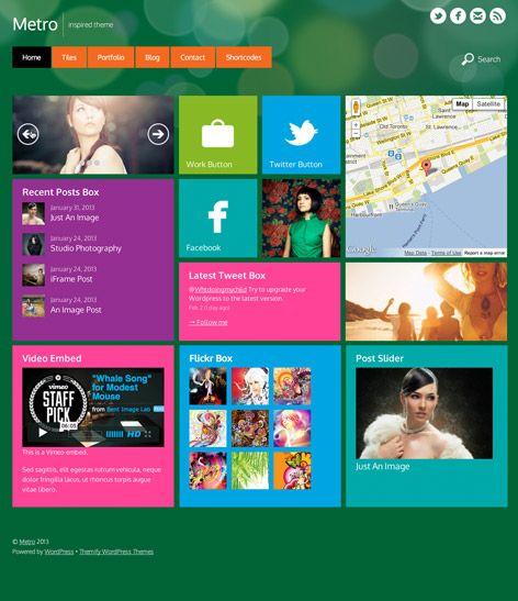 Metro  WordPress Theme im Windows 8 Metro Look  #Metro #Themes #WordPress