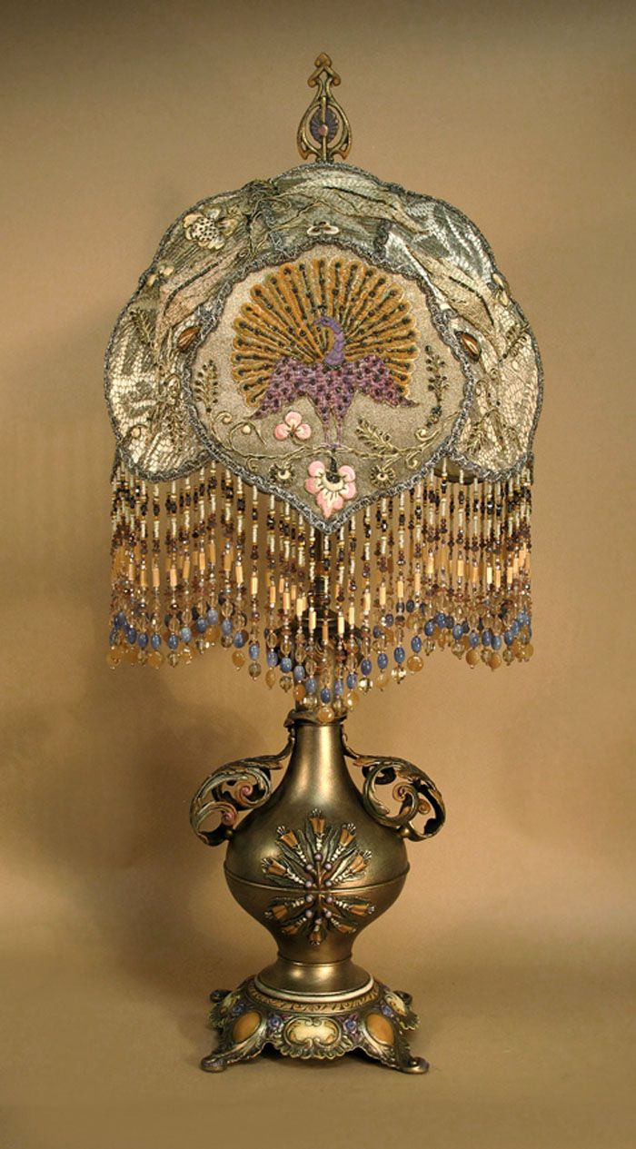 Victorian Table Lamp With Beaded Shade
