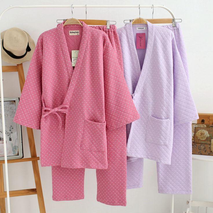 Pas cher Nouvelle vente chaude d'hiver 100% pur coton couleur unie qualité mignon Polka Dot chaud femmes pyjamas ensembles à manches longues dames vêtements de nuit, Acheter  Pyjama Ensembles de qualité directement des fournisseurs de Chine:
