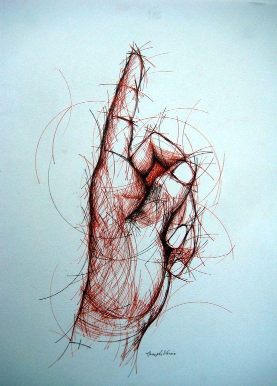 """Saatchi Online Artist: Joseph Vassie; Pen and Ink, 2012, Drawing """"Circular Hand Study"""""""