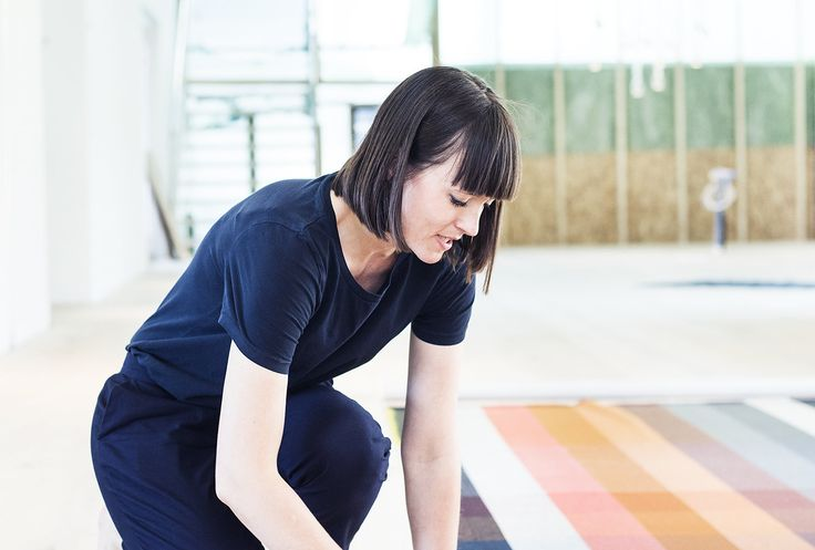 Kvadrat's Design Director Stine Find Osther working on new colours for the versatile Steelcut Trio textile.
