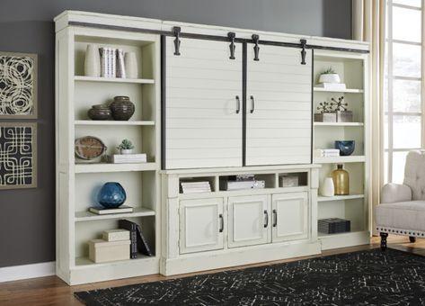 Ashley Furniture W723-30-34-34-36 4 pc Blinton antique white finish wood tv rustic style barn door entertainment center