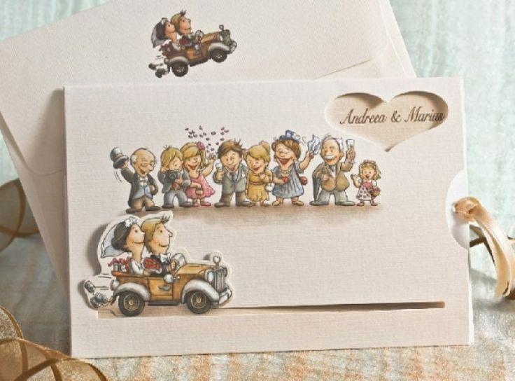 Invitatie de nunta haioasa, cu mirii in masina si nuntasi.