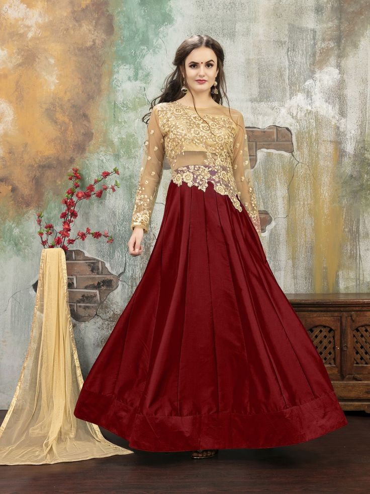 A Line Style Nice Looking Salwar Kameez in Maroon, We unfurl our the intricacy and exclusivity of our creations highlighted with this attractive Maroon Silk Unstitched Salwar Kameez. The lovely Embroidery & Crystals Stones work a substantial attribute of this attire.