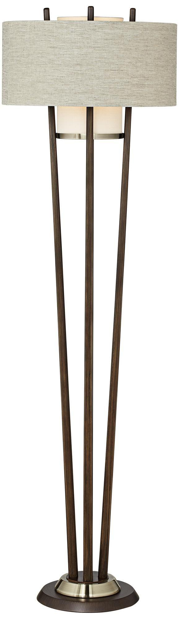 Nova Veld Pecan and Weathered Brass Floor Lamp   LampsPlus.com