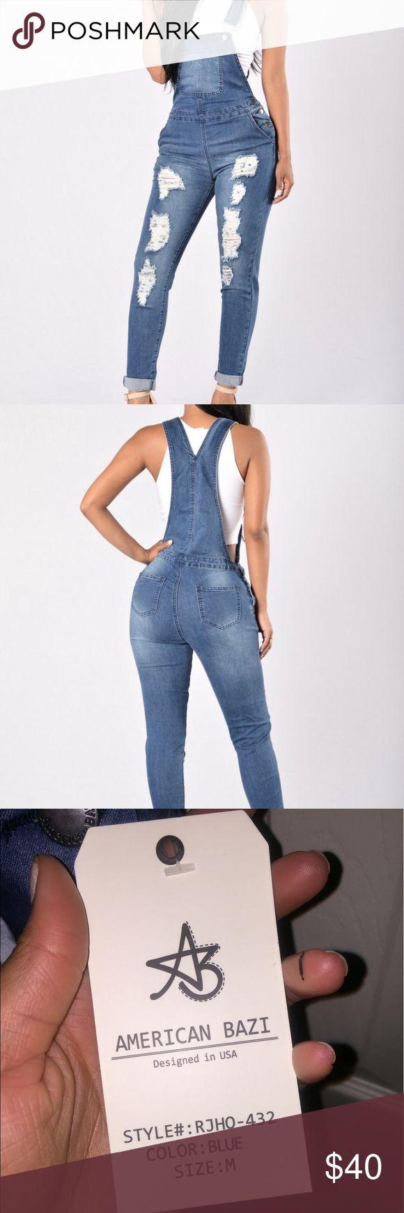 American Bazi Jean Jumpsuit Never worn! Super cute and stretchy denim jumpsuit. 5 pocket design, straight leg, 97% cotton 3% spandex. American Bazi Pants Jumpsuits & Rompers