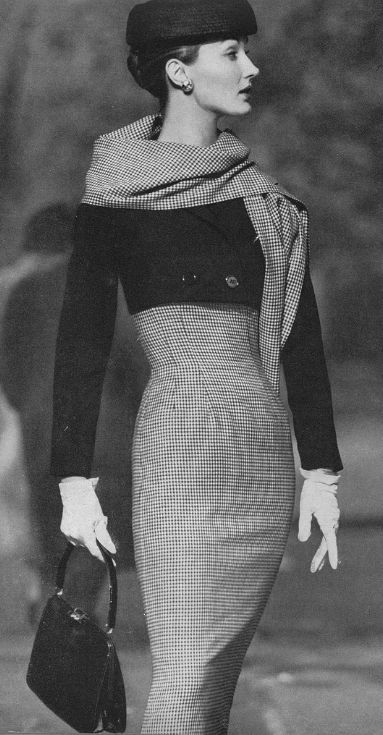 Evelyn Tripp High Waisted Check Dress  this is a vintage shot, Evelyn Tripp was a model in the 50's & 60's ..but I'd wear this outfit today in a heartbeat