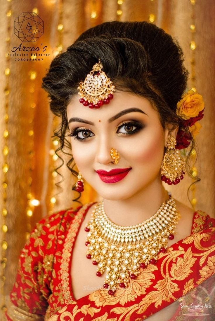 Engagement Eye Makeup Indian  Bridal makeup images, Bengali