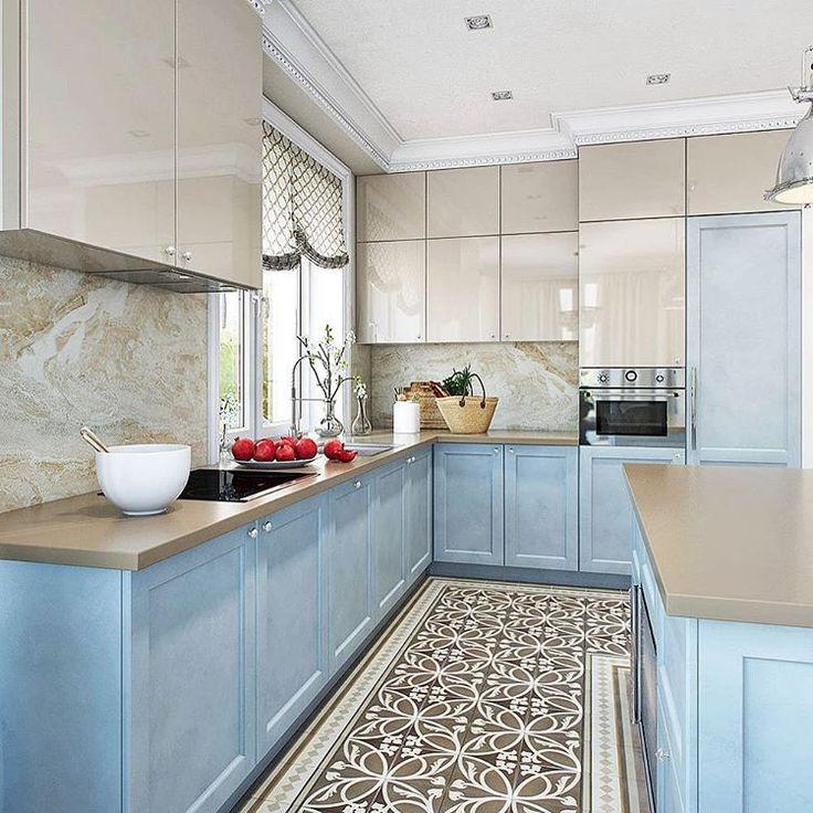 "#modrá #béžová #kuchyna #dlažba #nábytok #rustikálny #interiér #interior #inspiration #instadesign #like4like #instaphoto #byt #bydlení…"""