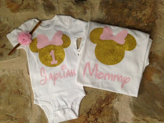 Set includes first birthday onesie with matching headband and mommy shirt. Please leave childs name in the notes to seller at checkout    Please see shop announcements for current processing times.