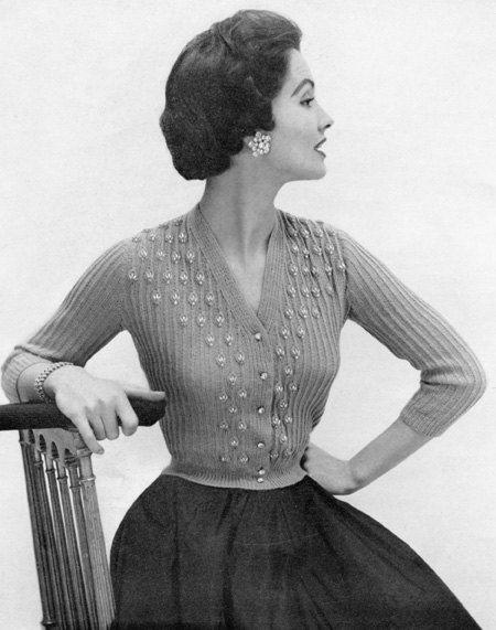 1950s Vintage Beaded Cardigan Knitting Pattern - Digital PDF E-Book. $4.99, via Etsy.