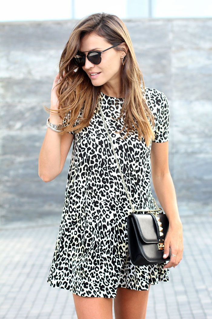 Animal Print Dress - Silvia wearing a Zara Dress and Valentino Bag.