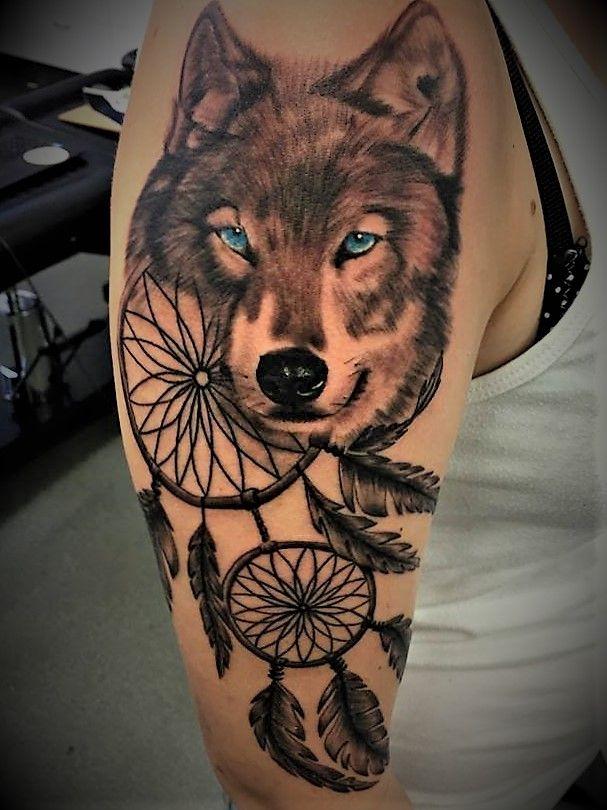 Wolf And Dreamcatcher Tattoo Tattoosbyshaunipswichqld Wolftattoo Dreamcatchertattoo Realisticw Wolf Tattoos For Women Wolf Dreamcatcher Tattoo Wolf Tattoos