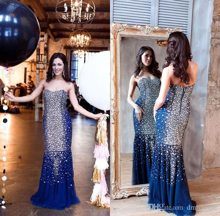 2016 Stunning Crystals Beading Prom Pageant Dresses Sexy Sweetheart Backless Blue Tulle Mermaid Evening Party Gowns Floor Length Short Prom Dress Uk Stores For Prom Dresses From Dmronline, $191.56| Dhgate.Com