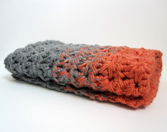 """Ombre crochet blanket (This is """"chunky"""" crochet, where you use 3 strands of yarn to crochet at the same time. That's how they're able to work in the color change.)"""