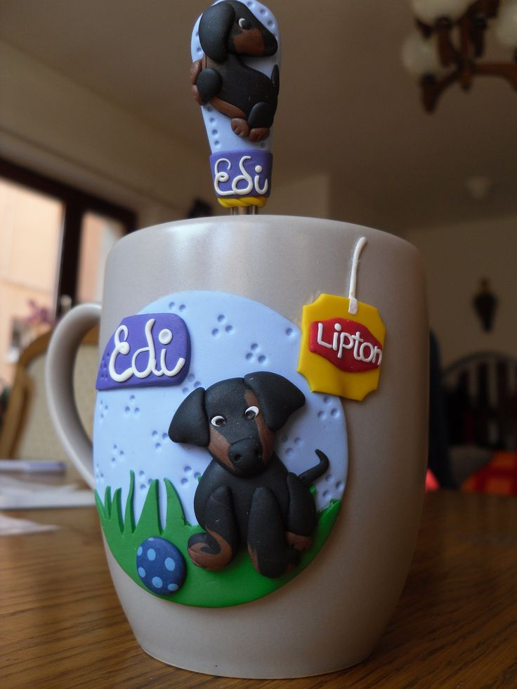 Clay , Fimo mug with a lipton label on it and dachshund dog