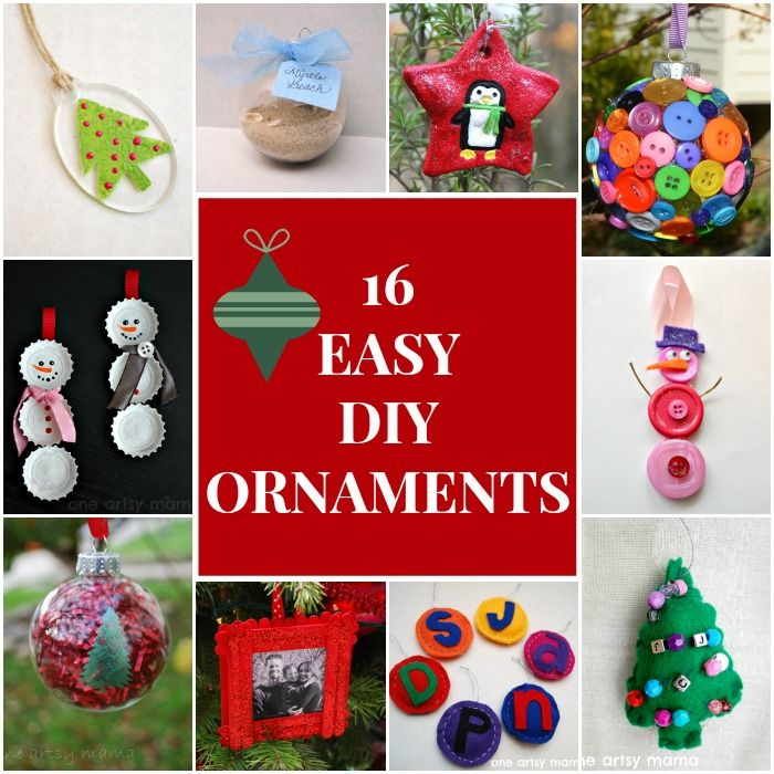 16 DIY Ornament Ideas! Great for kids too!