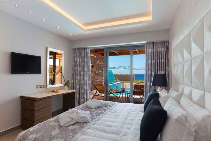 Enjoy a more upgraded holiday experience in one of our stylish Junior Suites. Featuring a spacious terrace with a private pool and sunbeds, marble dressed bathroom with a bathtub and walk-in shower, seating area and effortless technology the scene is set for you to lay back and just enjoy your luxury holiday