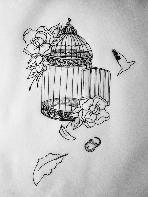 In Progress Cage Tattoo Commission by PaintpotsandDaydreams, via Flickr