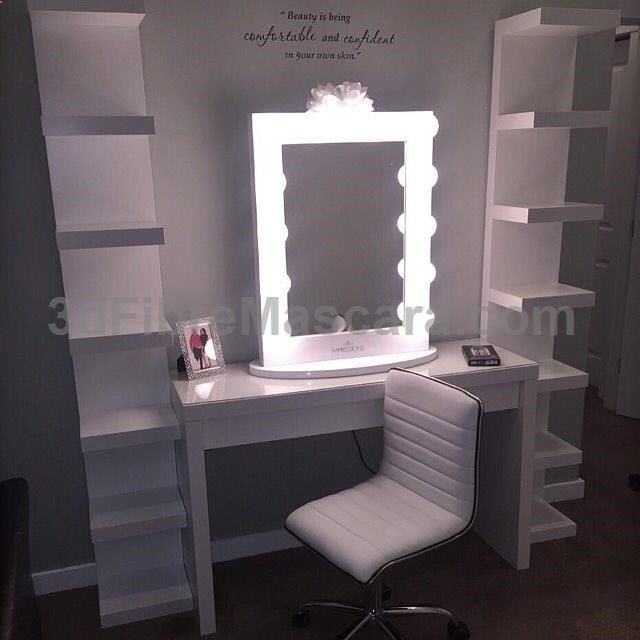 BEST gift EVER! What a lucky lady @just_rye23 is! This setup is off to a gorgeous start! Featuring the Impressions Vanity Iconic XL, Impressions Vanity Waffle Chair, IKEA Malm desk  Lack shelves