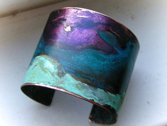 Three patinas on copper...ssd jewelry