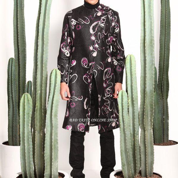 harici tasarımcıları soyut baskı jakarlı trençkot erkek asimetrik sanat grafiti özel trençkot eski kabartmalı ceket