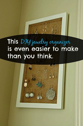 Diy Jewelry Organizer Picture Frame And Tulle Jewelry Ideas