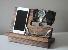 Ночь Oak Wood Valet | iPhone Подставка для зарядки Galaxy | Тумба Dock |  День отца Выпускной День рождения Для Него |  Fitbit Jawbone