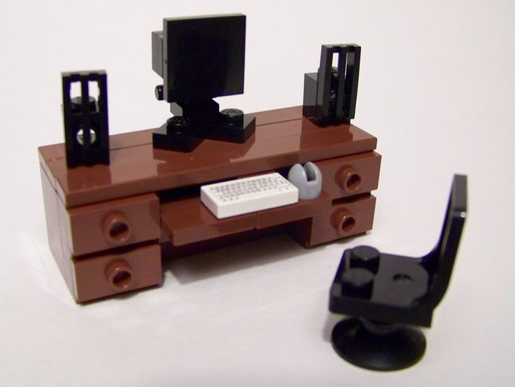 LEGO Furniture Instructions | Brown Office Desk w/ keyboard, mouse, monitor & speakers and chair