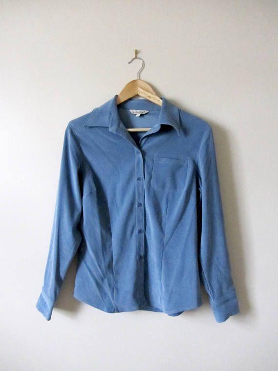 90s Button Up Blue Blouse