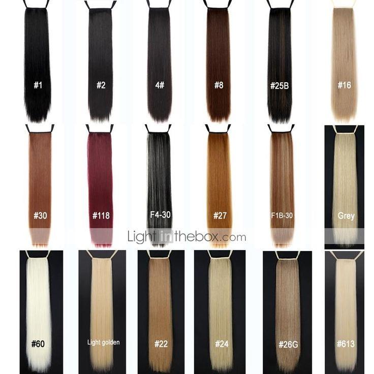 [BlackFridaySale]Utmerket kvalitet syntetisk 24 tommers lange rette Ribbon hestehale parykk - 18 farger - NOK kr. 72