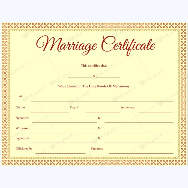 68 best marriage certificate templates images on pinterest