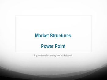 This Power Point presentation has all the information needed to teach market structures.  It lays out the fundamentals of Perfectly Competitive Markets, Monopoly, Oligopoly, and Monopolistic Competitive Markets.  Perfect for a two day or week long lesson on market structures!Check out these other great economics resources:Market Structure Task CardsMarket Structures SimulationPPC BundleCircular Flow BundleInternational Trade BundleMonetary Policy Bundle