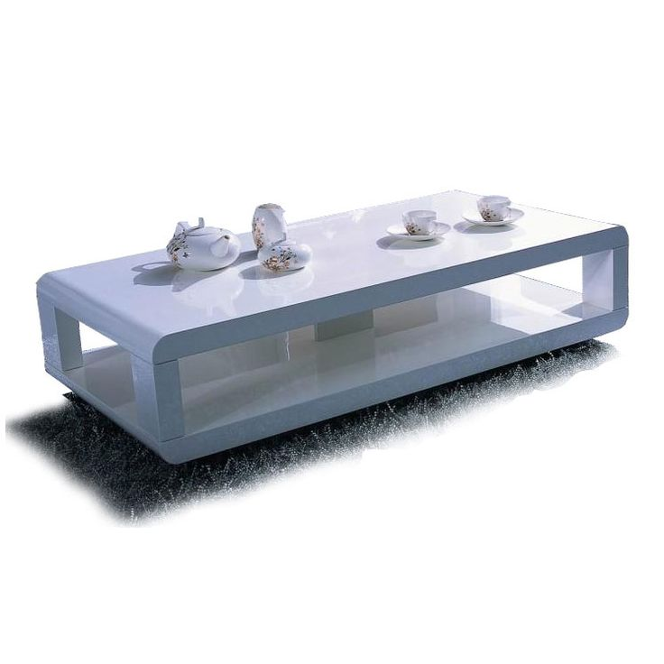Contemporary White Gloss Rectangular Coffee Table Natori.