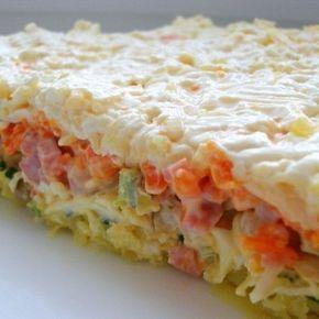 Сколько раз делаю, столько и восхищаюсь! Делайте не пожалеете! Состав и приготовление: Отвариваем картофель, морковь, яйца, остужаем. Каждый слой немного смазываем майонезом. 1-й слой: картошка, натертая на крупной терке 2-й слой: зеленый лук 3-й слой яйца, натертые на терке 4-й слой: маринованные шампиньоны 5-й слой: нарезанная кубиками ветчина 6-й слой: морковь, натертая на терке 7-й …