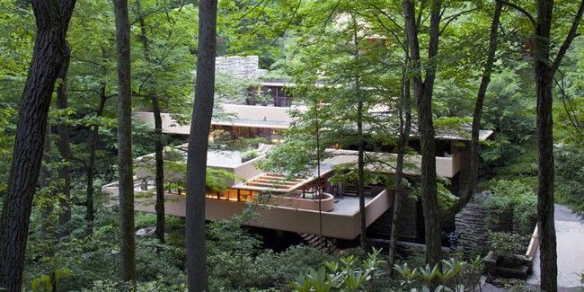 765 best images about frank lloyd wright on pinterest - Maison sur la cascade ...
