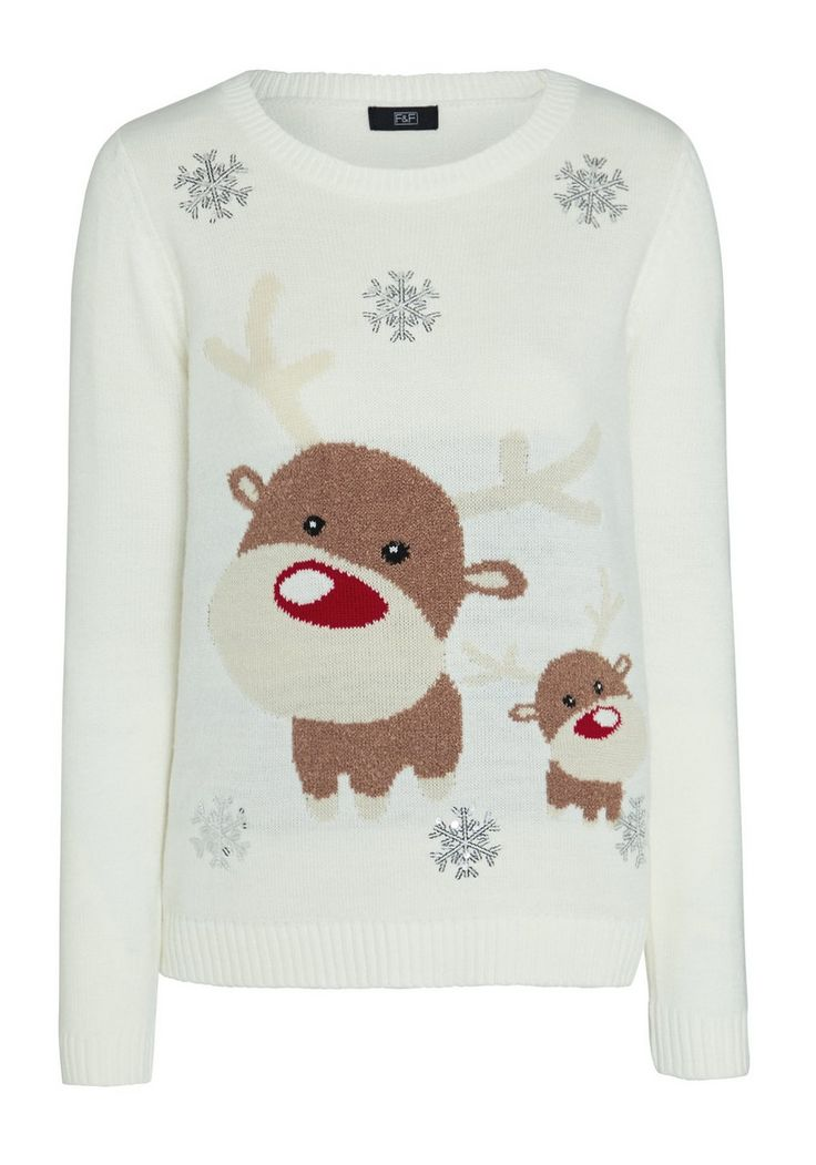 Clothing at Tesco | F&F Sequin Embellished Reindeer Christmas Jumper > knitwear > Women's novelty > Christmas